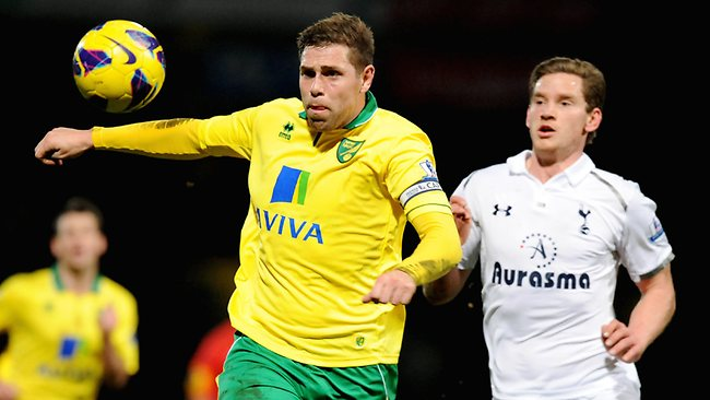 Norwich City's Grant Holt (L) vies with Tottenham Hotspurs' Jan Vertonghen during their English Premier League match at Carrow Road. Picture: Olly Greenwood
