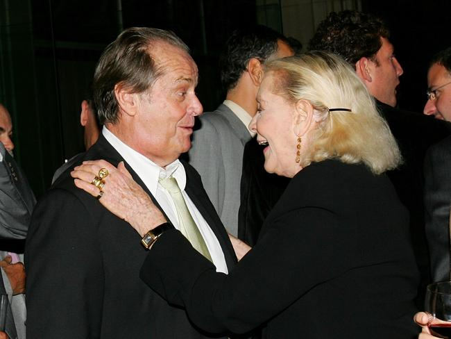 """Jack Nicholson chats with Lauren Bacall at the """"The Departed"""" film premiere in 2006 in New York City. Picture: Getty"""