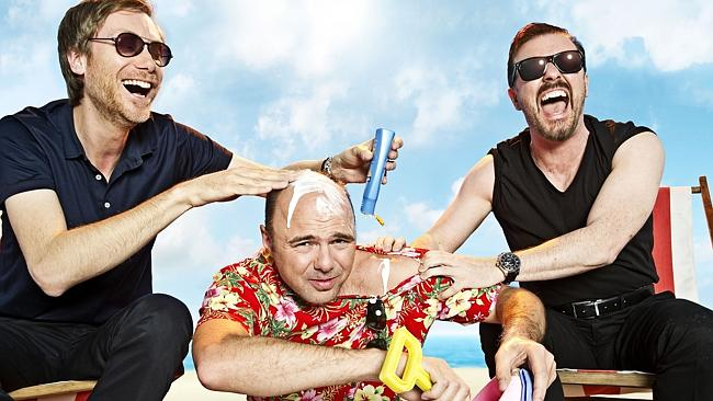 Stephen Merchant, Karl Pilkington and Ricky Gervais in An Idiot Abroad — humiliating for the host, and the viewer?