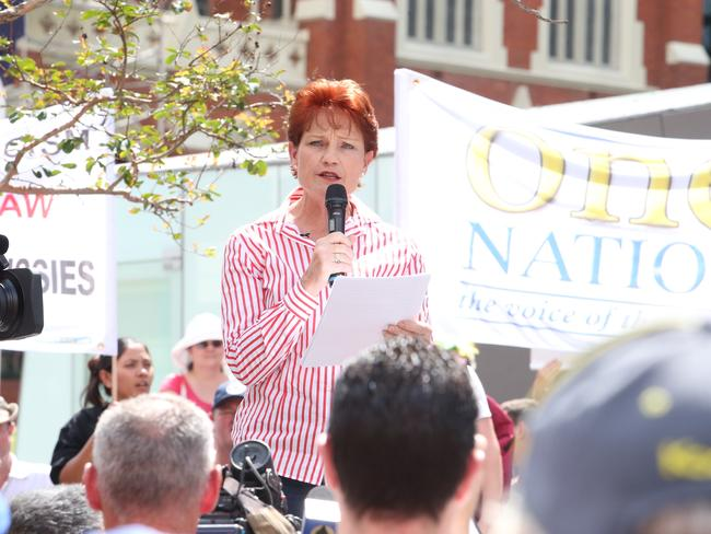Pauline Hanson joined the rallies in Brisbane.
