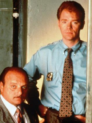 Actor David Caruso with fellow screen detective Dennis Franz in a scene from NYPD Blue. p/ actors TV series