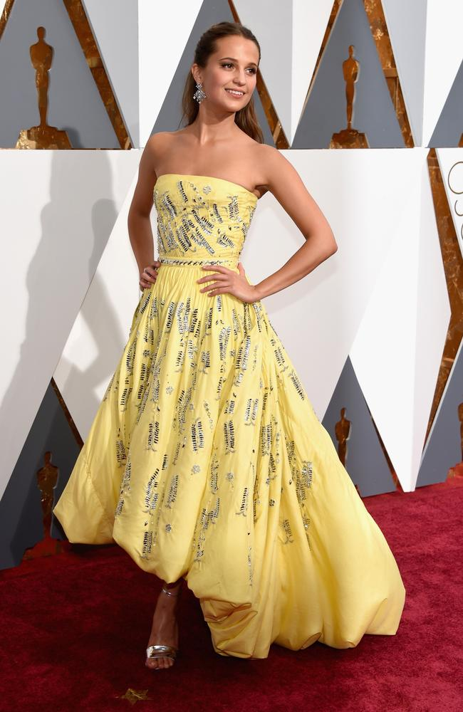 Alicia Vikander attends the 88th Annual Academy Awards on February 28, 2016 in Hollywood, California. Picture: Getty
