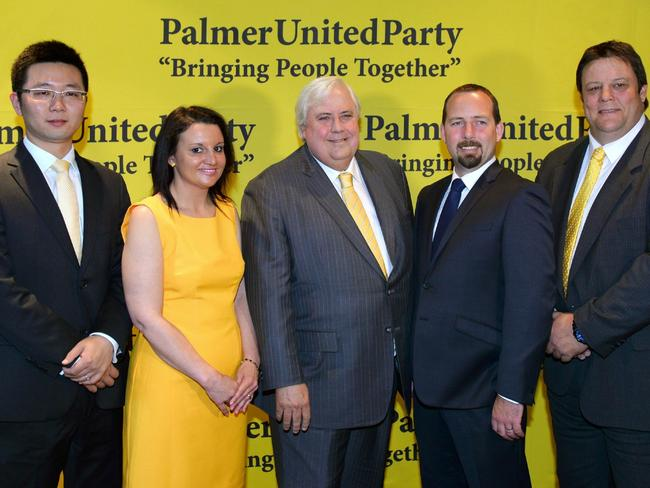 Successful campaign but was PUP's election advertising funded using Chinese money? Mr Palmer is pictured with his senators and Motoring Enthusiast senator Ricky Muir. AFP PHOTO/William WEST