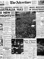 """""""Advertiser"""" front page 13 Jun 1964 announcing arrival of rock band Beatles in Adelaide. 1960s one Picture: Supplied"""