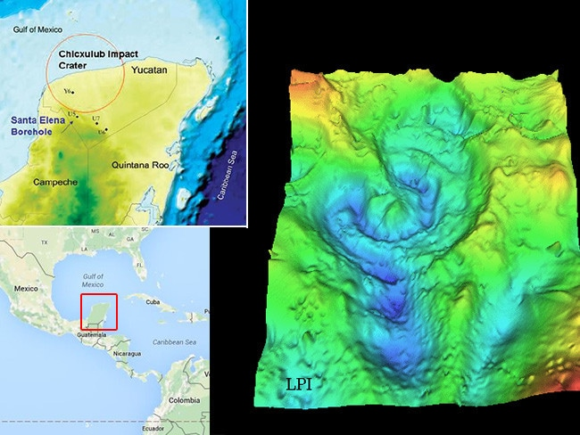 A rendering of seismic scan data for the Chicxulub crater, on the Yucatán Peninsula, Mexico.