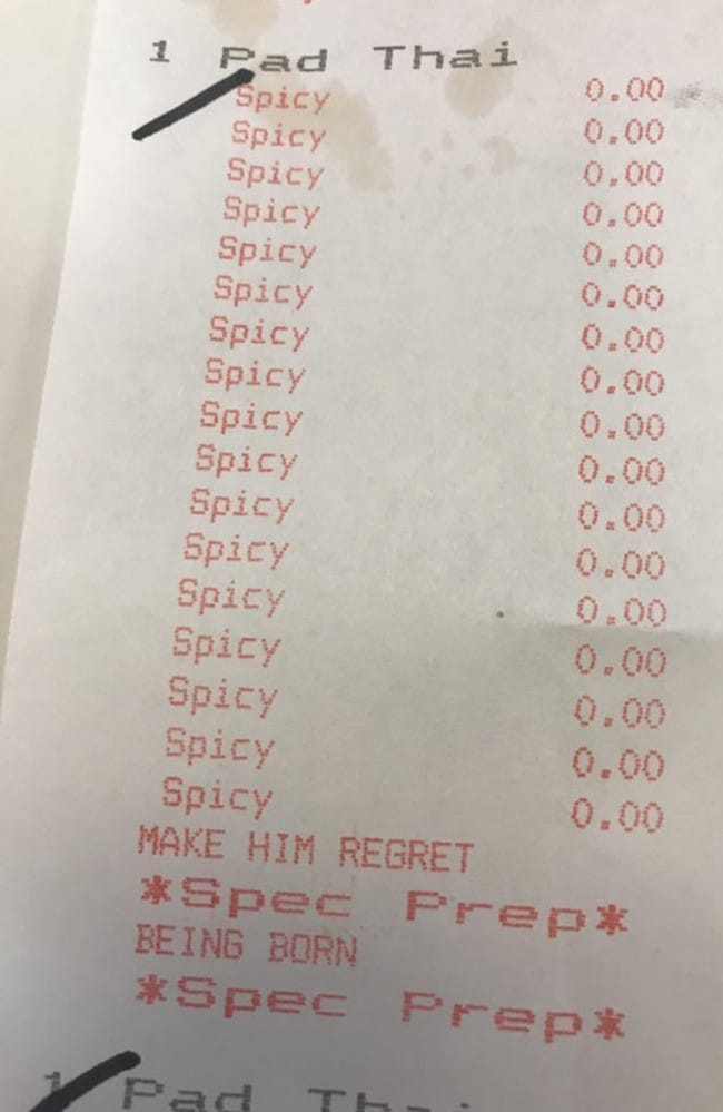 "The Reddit user posted this picture of his receipt with the caption ""I asked for extra spicy Pad Thai today""."