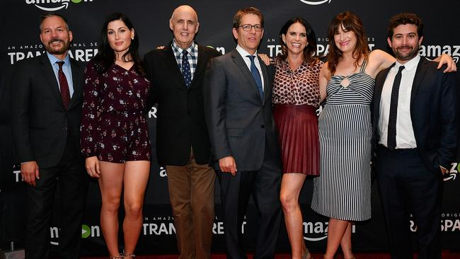 Transparent cast and crew at a screening last year, including Trace Lysette (second from left) and Jeffrey Tambor (third from left). Picture: Getty