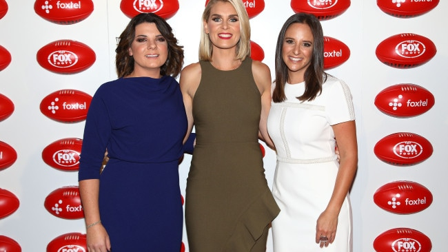 Meadows with co-hosts Kelli Underwood (left) and Sarah Jones (middle). Image: Getty.