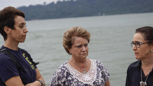 Terror ... With Nusakambangan island as a background, Gularte's mother Clarisse and cousins Marlise Gularte De Carvalho (left) and cousin Angelita Muxfeldt (right) talk of their fears Picture: Ardiles Rante.