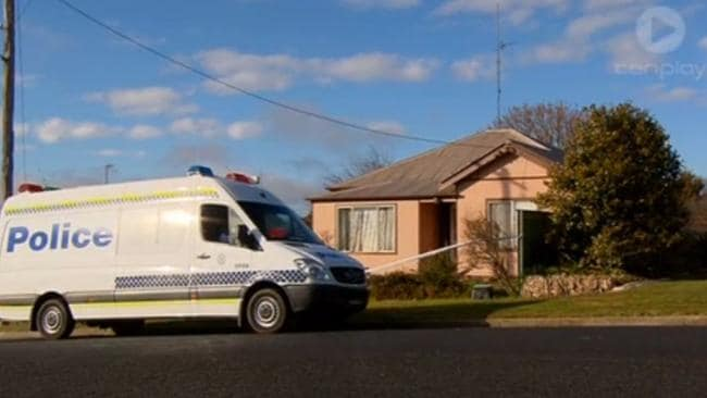 Police at the crime scene in Oberon where three-year-old boy Joseph was given CPR but later died. Picture: Channel 10.