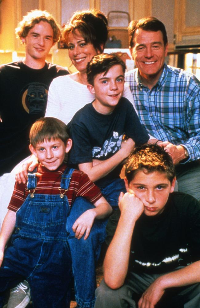 Malcolm in the Middle stars, clockwise from left, Christopher Kennedy Masterson, Jane Kaczmarek, Frankie Muniz, Bryan Cranston, Justin Berfield and Erik Per Sullivan. Picture: Supplied