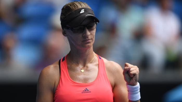 Mirjana Lucic-Baroni of Croatia gestures during the Womens Singles match against Jennifer Brady of the United States in round four on day eight, at the Australian Open in Melbourne, Australia, Monday, Jan. 23, 2017. (AAP Image/Lukas Coch) NO ARCHIVING, EDITORIAL USE ONLY