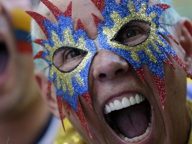 A fan of Colombia cheers before the group C World Cup match against Japan.