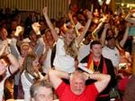 Andrea Klein leads the cheers at Adeladie's German Club after her team's World Cup win. Picture: Simon Cross