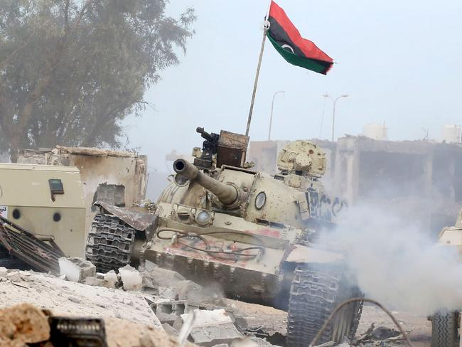 A T-54 tank belonging to forces loyal to Libya's Government of National Accord (GNA) taking position in Sirte's Al-Giza Al-Bahriya district. Picture: Mahmud Turkia