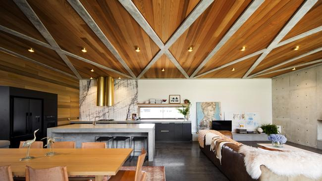 Things of stone and wood: Open plan living in Torquay. Supplied by Foxtel.
