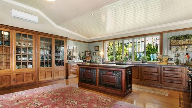 The kitchen provides storage on a grand scale.