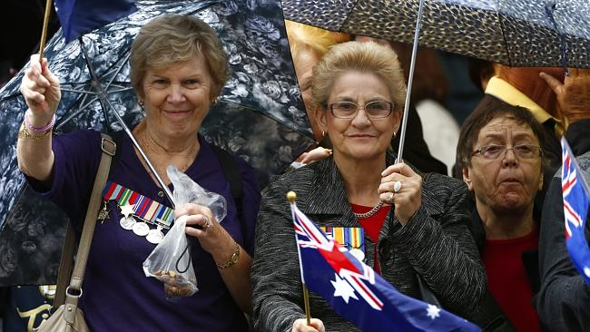 Thousands of people lined the streets in Sydney for the Anzac Day march. Picture: Bradley Hunter