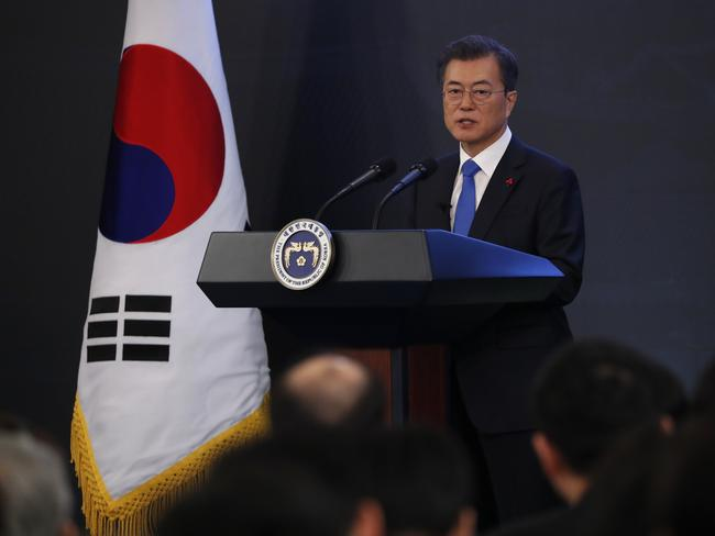 South Korean President Moon Jae-in will press for further talks with the North. Picture: AP