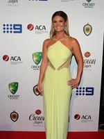 Kirsten Tuzee partner of Clint McKay on the red carpet of the 2014 Allan Border medal. Pic Brett Costello