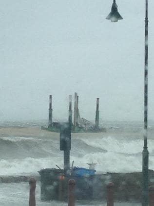 A barge off Brighton busted its moorings and is now floating about with a broken crane. Picture: Wendy of Brighton