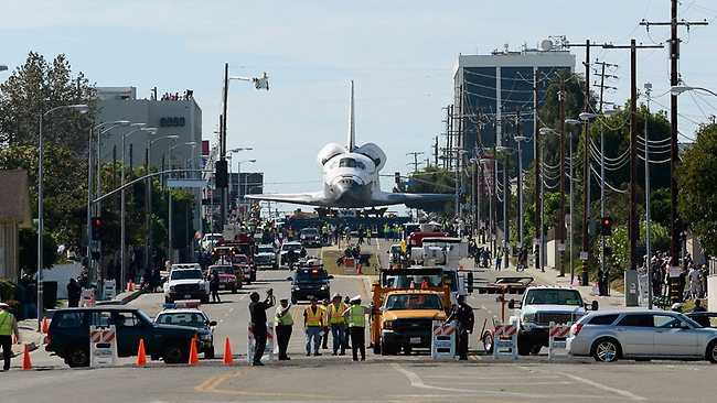 The space shuttle Endeavour is transported to the California Science Center in Exposition Park. Picture: Kevork Djansezian