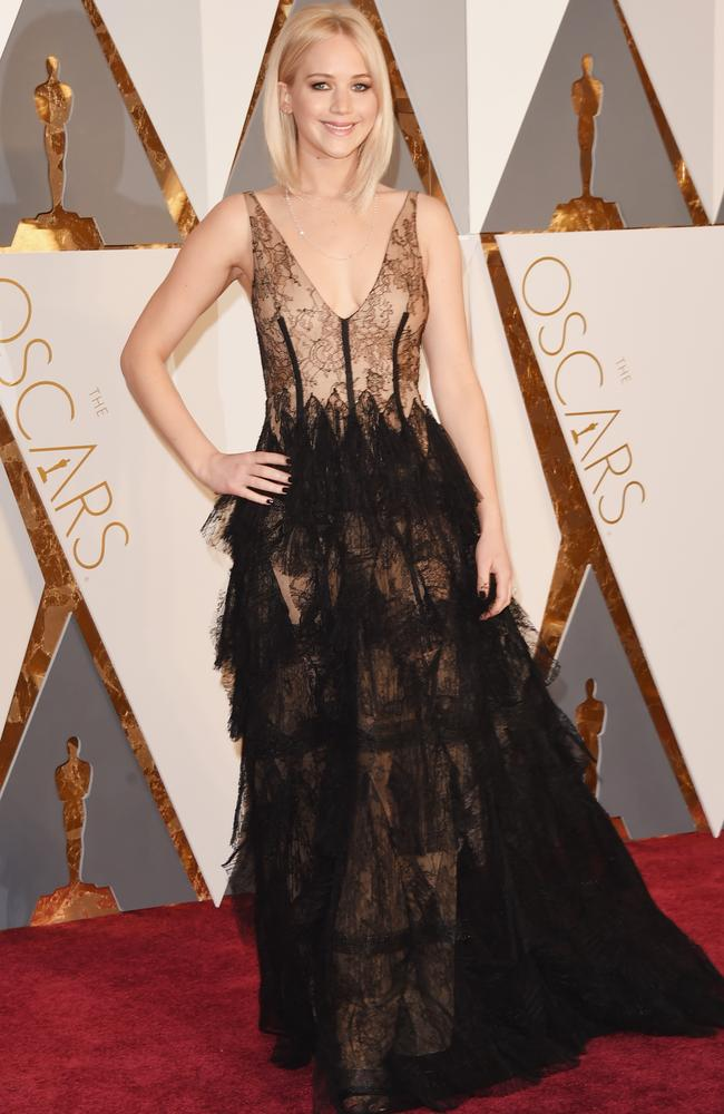 Jennifer Lawrence nailed the lace look in Dior. Picture: Jason Merritt/Getty Images