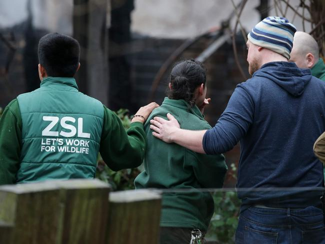 London Zoo employees comfort a colleague after a fire broke out at a cafe and shop at London Zoo. Picture: AFP