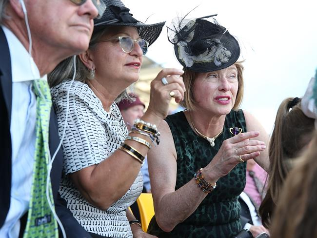 Gai Waterhouse reacts to her horse Fiorente finishes in the middle of the field in Ranvet Stakes. Picture: Richard Dobson