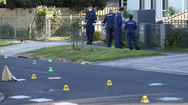 Police evidence markers on a Braybrook road where a man was killed on Saturday. Picture: David Crosling