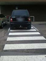 Once I get out of my car, I'm a pedestrian, right? So this is OK. No, you moron, it's not. Picture: Rebeckah Collins.