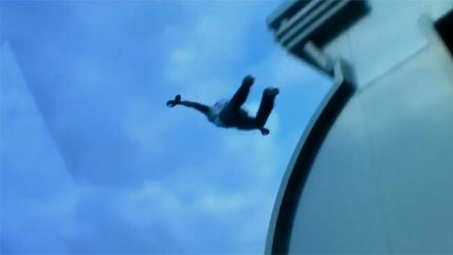 Freefalling: Baumgartner breaking his own BASE jumping record in 2007. Picture: YouTube