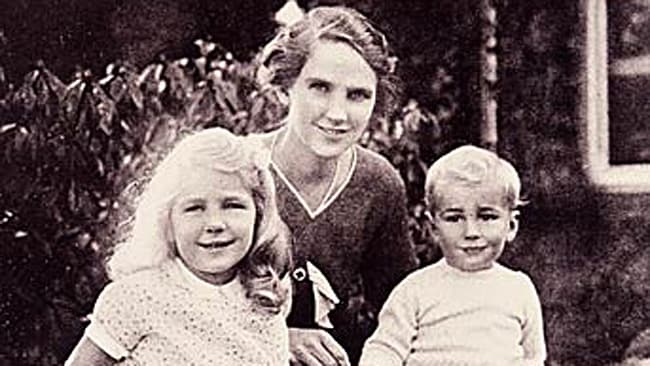 Lady Murdoch with her daughter Helen and smiling toddler Rupert.