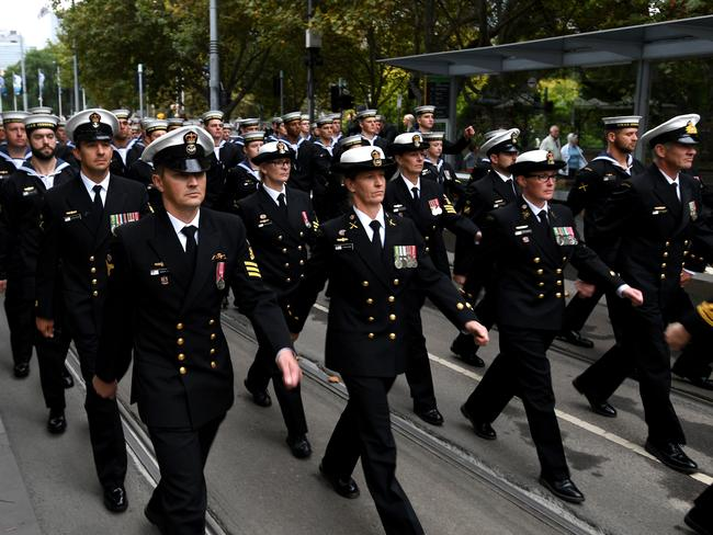 Sexist? Women were front and centre at this morning's Anzac Day parade. Picture: Joe Castro/AAP