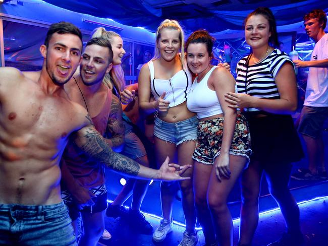 There were similar scenes at schoolies in Kuta, Bali. Picture: Nathan Edwards