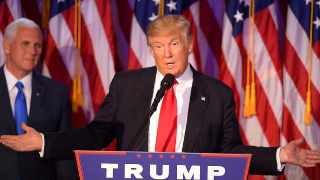 Donald Trump speaking during election night. Picture: AFP
