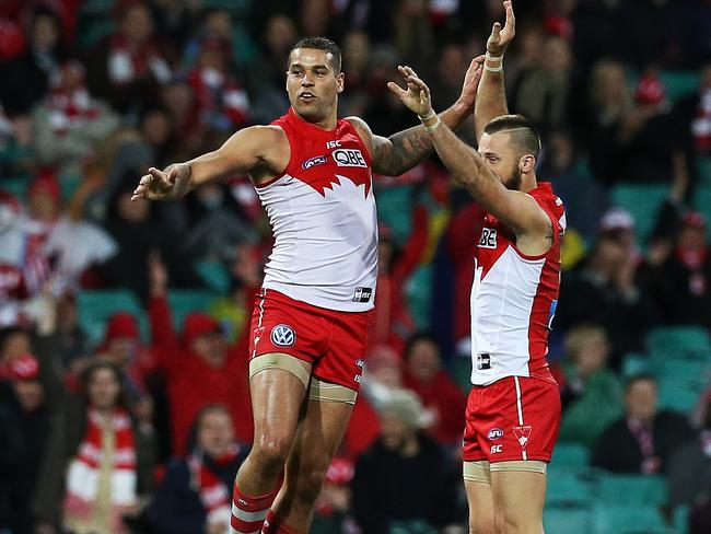 Lance Franklin celebrates a a goal with Nick Malceski. pic. Phil Hillyard
