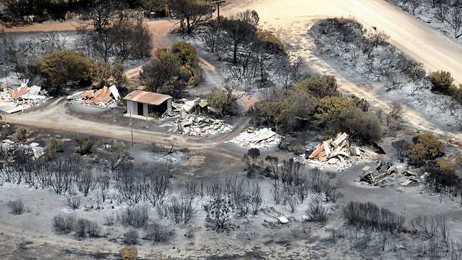 Shacks and homes destroyed by the bushfire at Sleaford Bay. Picture: Mark Brake on the Seven News helicopter