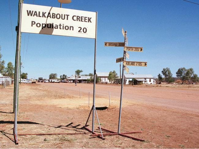 The set for Walkabout Creek, McKinlay in outback Queensland for the shooting of Crocodile Dundee film. Picture: Steve Brennan.