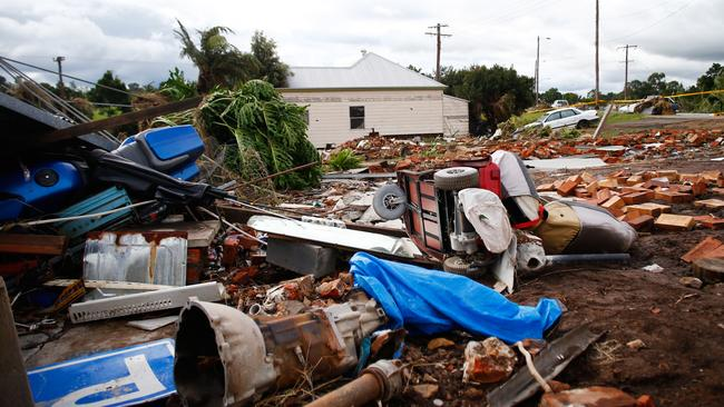 The debris of houses destroyed by cyclonic winds are seen on April 22, 2015 in Dungog, Australia.