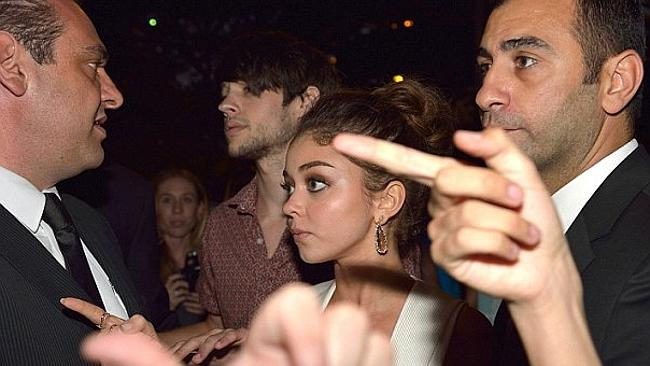 It's him.....A shocked Sarah Hyland points to a fan (out of picture) she claims groped her last night. Photo: Matrix Source: DailyTelegraph