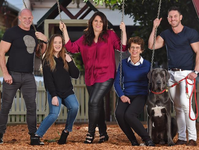 "Chris and Anthony have ""a very modern family"" — pictured here with Anthony's daughter Grace, ex-wife Jane, Chris' mum Shona and Spartacus the Great Dane. Picture: Tony Gough"