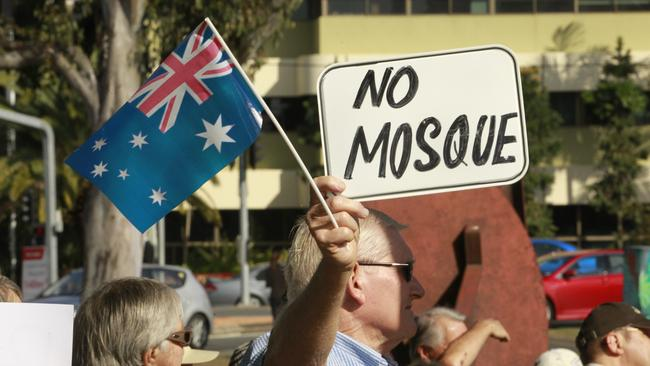 Protestors gathered to protest against the Currumbin Mosque. Photo: Kit Wise