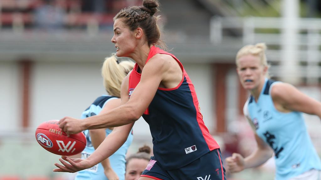Maddie Boyd in action for Melbourne against Carlton. Picture: David Crosling