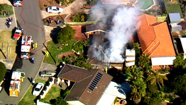 An aerial view of the Craigie house fire. Picture: Nine News