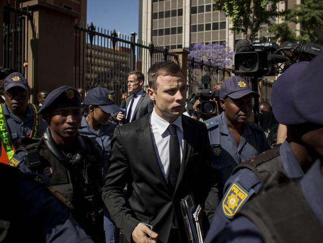 Strming out ... Oscar Pistorius leaves the North Gauteng High Court. Picture: Charlie Shoemaker/Getty Images