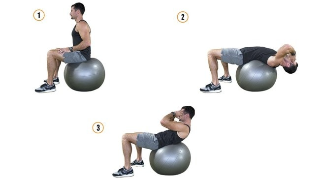 Deep sit-ups on Swiss ball