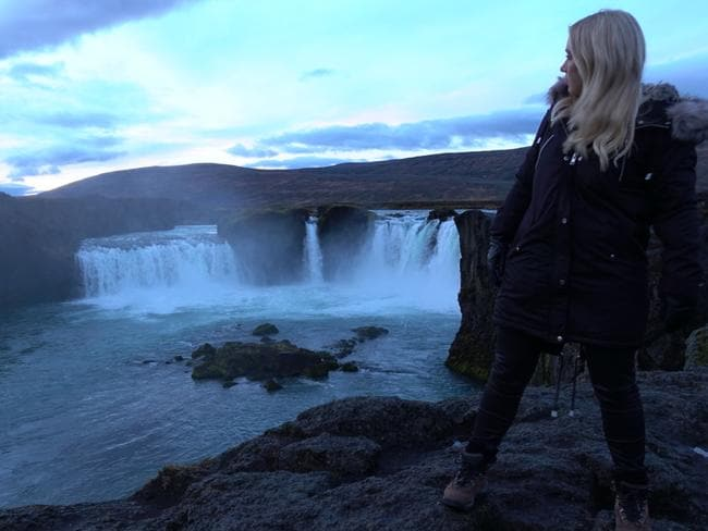 They also filmed at Goðafoss, aka 'Waterfall of the Gods', but the scenes never aired. (By the way, this photo was taken at 11am — it looked like late afternoon.)