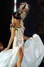 <p>Miss Australia entrant in Miss Universe 2005 beauty pageant Michelle Guy during National Costume Show in Bangkok, Thailand.</p>  <strong>Designers rate this year's outfit</strong> <br />