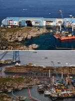 This combo of photos shows the Costa Concordia near the harbour of Giglio Porto on June 23, 2012 (top) and after being pulled upright (down) in the biggest ever project of its kind on September 17, 2013. Thirty-two people died when the ship, with 4,200 passengers onboard, hit rocks and ran aground off the island of Giglio on January 2012. AFP PHOTO/ VINCENZO PINTO